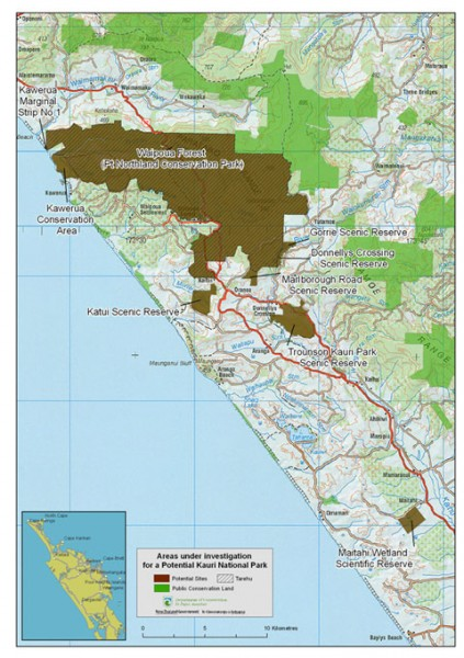 Map of areas under investigation - Kauri National Park proposal